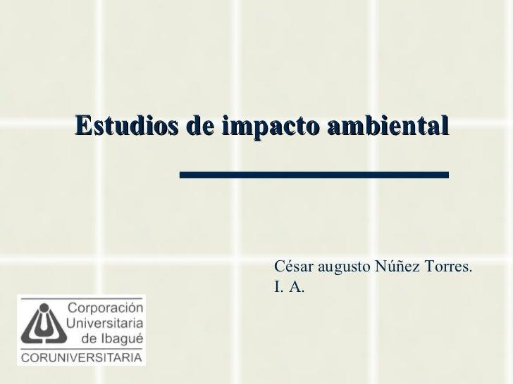 Estudios de impacto ambiental               César augusto Núñez Torres.               I. A.