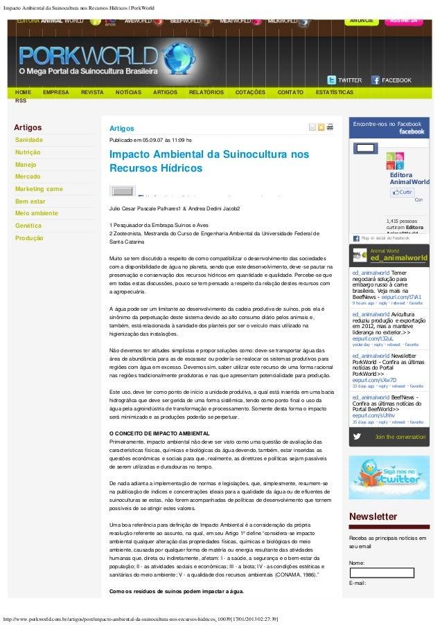 Impacto Ambiental da Suinocultura nos Recursos Hídricos | PorkWorld                                                       ...