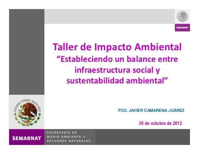 Taller de Impacto Ambiental Estableciendo un balance entre     infraestructura social y  sustentabilidad ambiental        ...