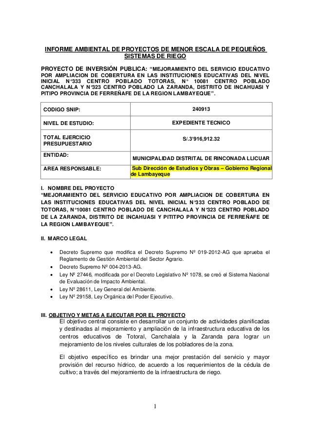 """1 INFORME AMBIENTAL DE PROYECTOS DE MENOR ESCALA DE PEQUEÑOS SISTEMAS DE RIEGO PROYECTO DE INVERSIÓN PUBLICA: """"MEJORAMIENT..."""