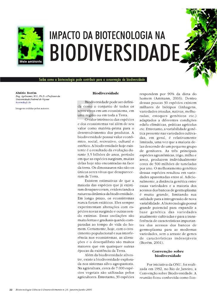 Impacto da biotecnologia na biodiversidade