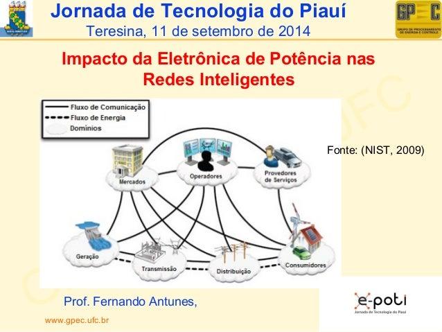 Jornada de Tecnologia do Piauí  Teresina, 11 de setembro de 2014  Impacto da Eletrônica de Potência nas  Redes Inteligente...