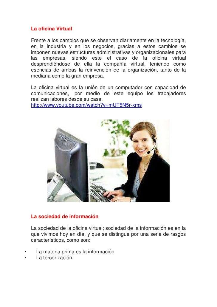 Impacto de la oficina virtual en el area de servicios - Oficina virtual industria ...