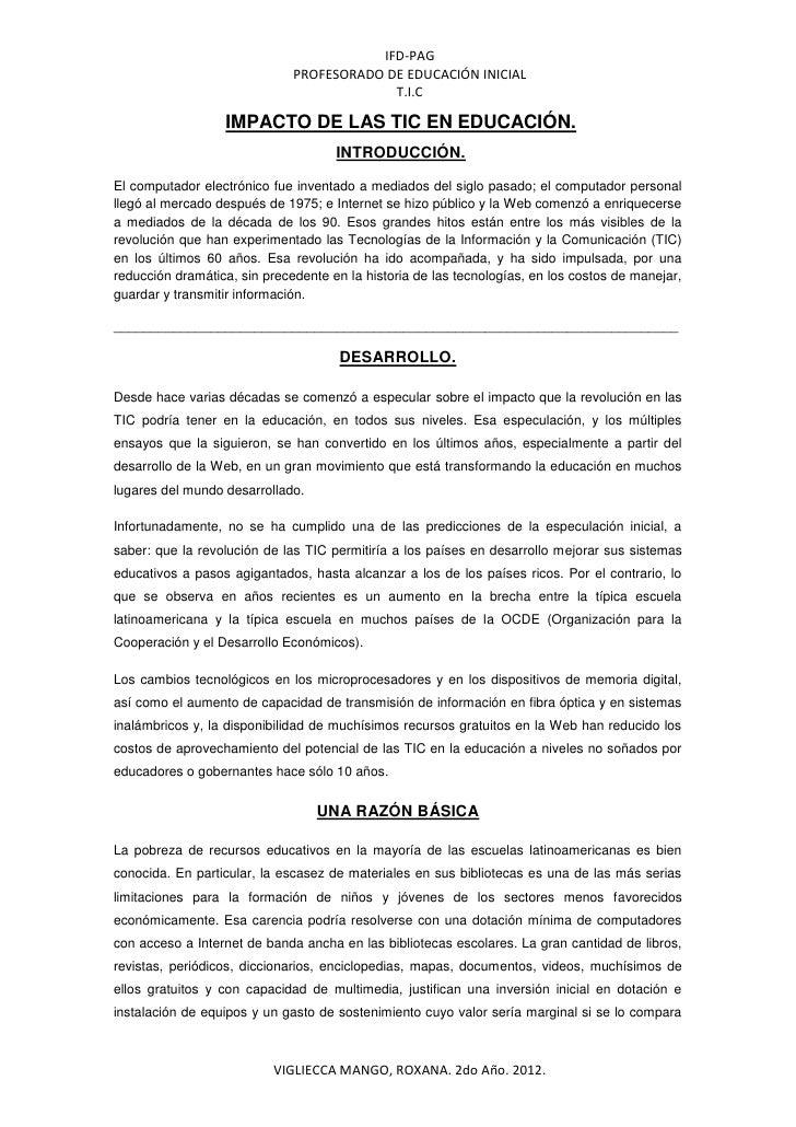 IFD-PAG                              PROFESORADO DE EDUCACIÓN INICIAL                                           T.I.C     ...
