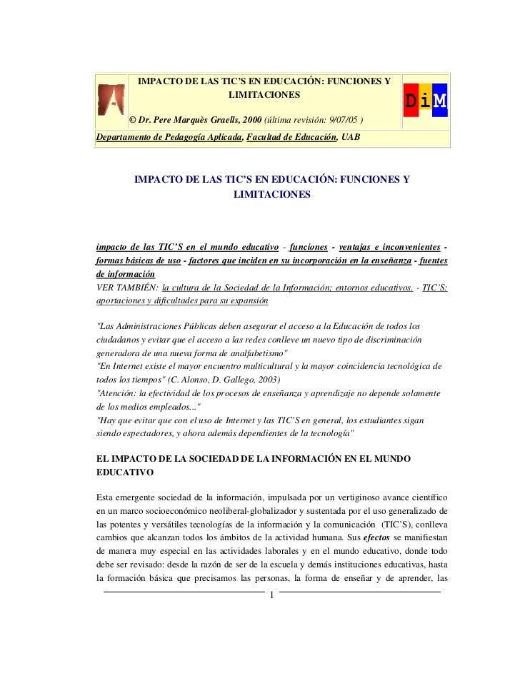 IMPACTO DE LAS TIC'S EN EDUCACIÓN: FUNCIONES Y                           LIMITACIONES        © Dr. Pere Marquès Graells, 2...