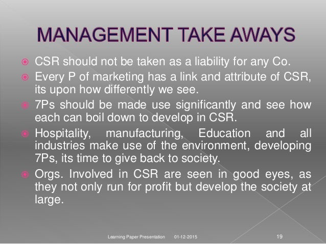relevence of 7ps of marketin in Companies today know the importance of csr in marketing and are developing marketing strategies around sustainability agendas to beat the competition.