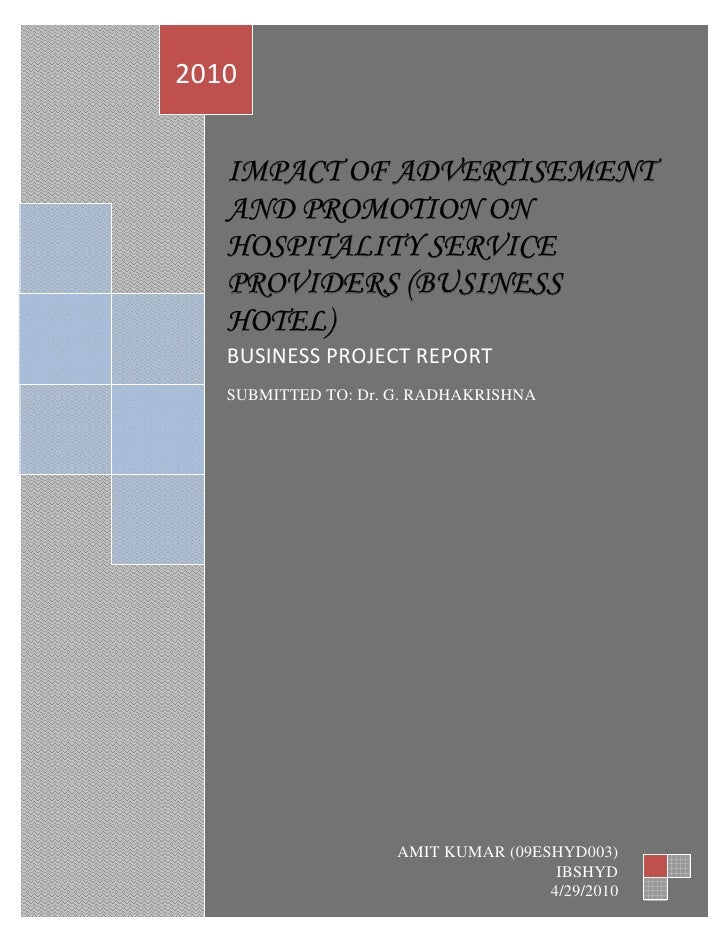2010            IMPACT OF ADVERTISEMENT        AND PROMOTION ON        HOSPITALITY SERVICE        PROVIDERS (BUSIN...