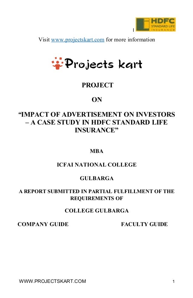 """I Visit www.projectskart.com for more information PROJECT ON """"IMPACT OF ADVERTISEMENT ON INVESTORS – A CASE STUDY IN HDFC ..."""