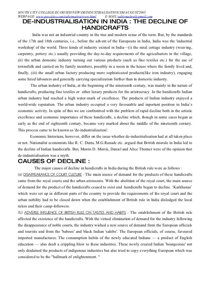 SOUTH CITY COLLEGE/ECOH/IEH/NEW/DEINDUSTRIALISATION/SM/AUGUST2005 WEBPAGE: www.geocities.com/subirmaitra/www.html E-MAIL:s...