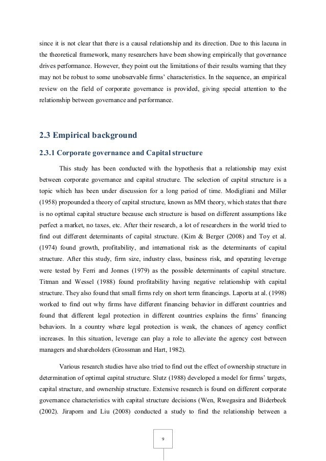 impact of corporate governance on firm This paper examines the impact of corporate governance mechanisms (board  size, board composition, and ceo/chairman duality) on firm.