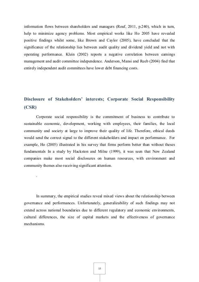 thesis on corporate governance and firm performance International corporate governance and firm value dissertation no investigate if these differences have an effect on firm valuation and firm performance.