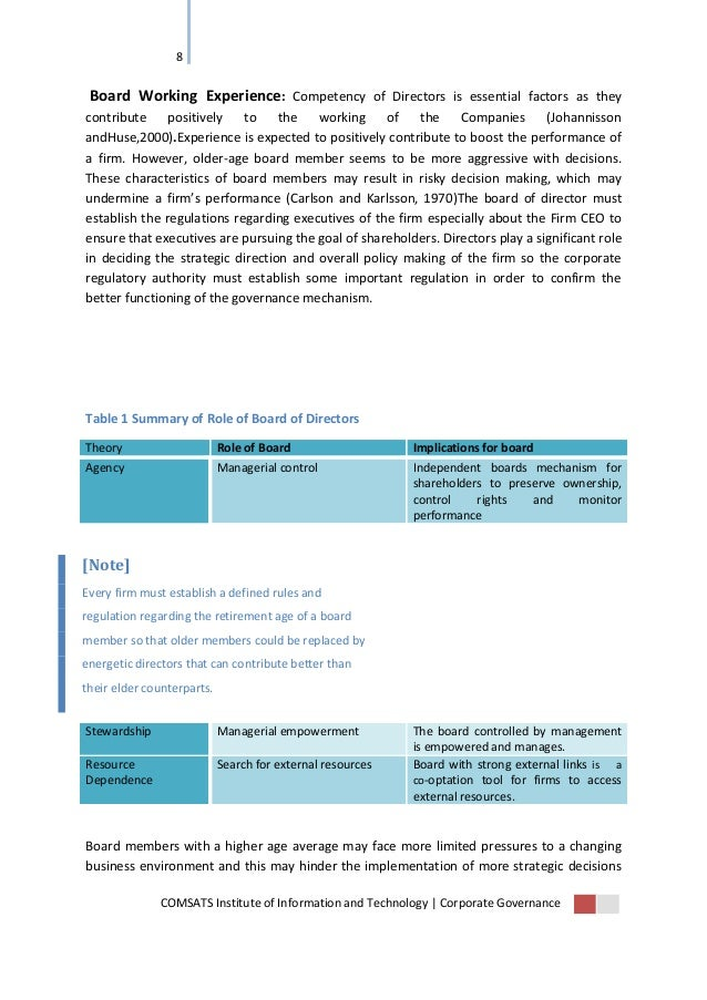 impact of corporate governance on firm Determine the impact of corporate governance on performance of companies key words: corporate governance, firm performance, net profit margin, earnings per share, score- card analysis, the republic of srpska.