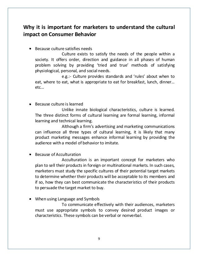 impact of culture on consumer behaviour 9
