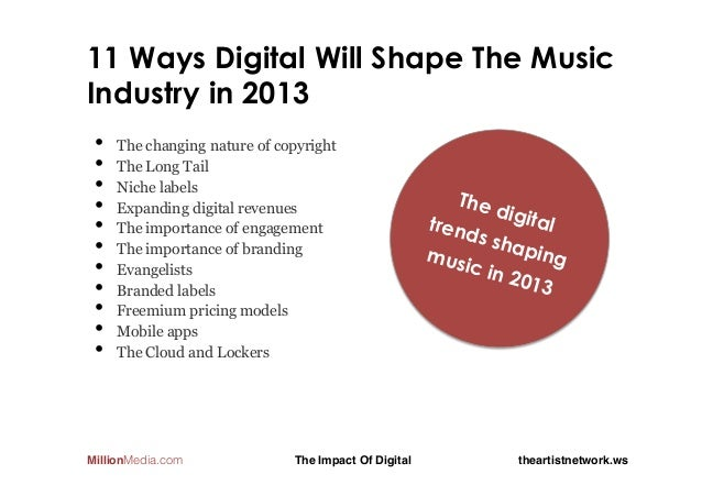 11 Ways Digital Will Shape The MusicIndustry in 2013 •    The changing nature of copyright •    The Long Tail •    Niche l...