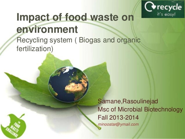 Impact of food waste on environment Recycling system ( Biogas and organic fertilization)  Samane,Rasoulinejad Msc of Micro...