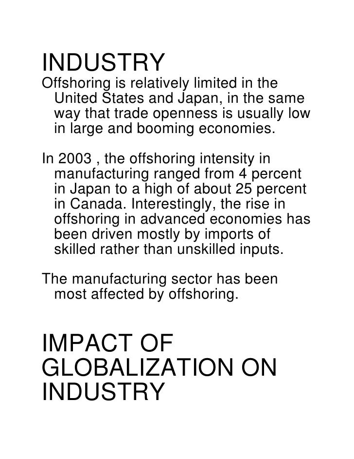 impact of globalisation on the telecommunication industry Postal and telecommunications  in the clothing industry,  of world trade in clothing the impact of the globalization of tcf differs.