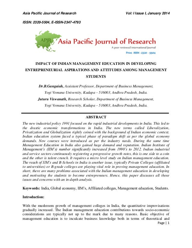Asia Pacific Journal of Research Vol: I Issue I, January 2014 ISSN: 2320-5504, E-ISSN-2347-4793 Page | 1 IMPACT OF INDIAN ...