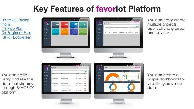 favoriot Key Features of favoriot Platform Three (3) Pricing Plans: (1) Free Plan (2) Beginner Plan (3) IoT Ecosystem You ...