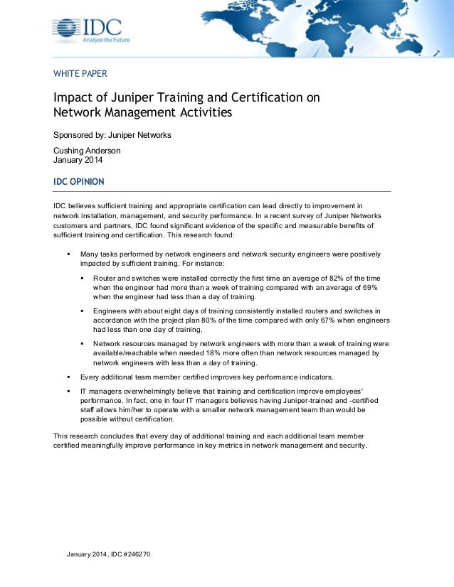 Impact Of Juniper Training And Certification On Network Management Ac