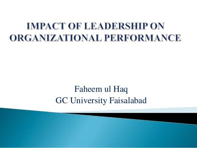 impact of leadership on organizational performance pdf