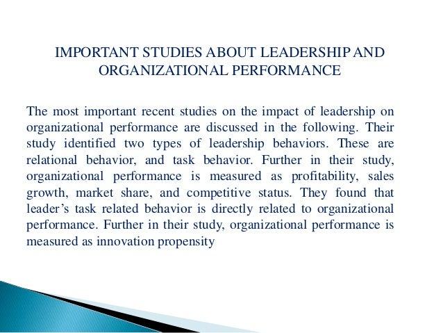 Impact of leadership on organizational performance