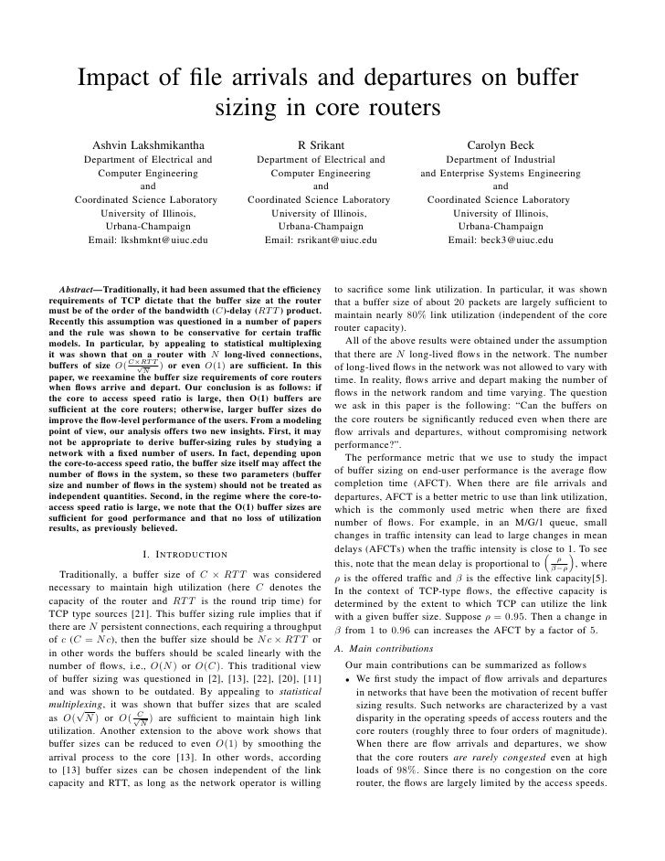 Impact of file arrivals and departures on buffer                   sizing in core routers           Ashvin Lakshmikantha   ...