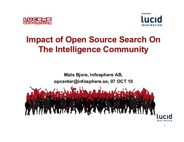 Impact of Open Source Search On The Intelligence Community Mats Bjore, Infosphere AB, opcenter@infosphere.se, 07 OCT 10 2