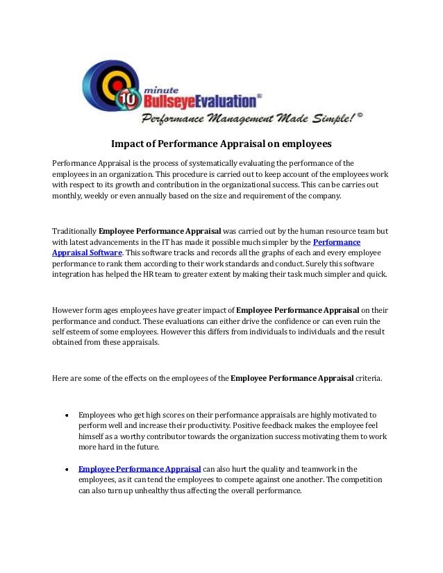 impact of performance appraisal on employees Find and compare performance appraisal software  check-in, 15five delivers  everything a manager needs to impact employee engagement and performance.