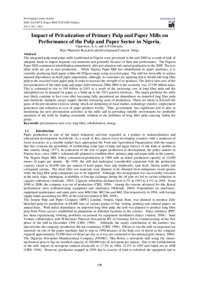 Developing Country Studies www.iiste.org ISSN 2224-607X (Paper) ISSN 2225-0565 (Online) Vol.3, No.7, 2013 109 Impact of Pr...