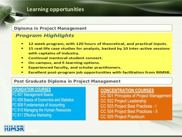 Company Logo Diploma in Project Management Learning opportunities Post Graduate Diploma in Project Management