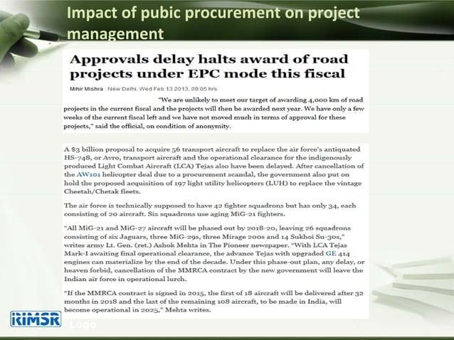 Impact of pubic procurement on project management Company Logo