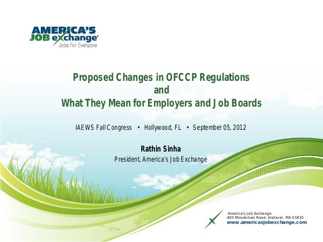Proposed Changes in OFCCP Regulations                    andWhat They Mean for Employers and Job Boards   IAEWS Fall Congr...