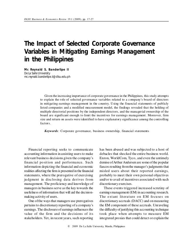 effect of corporate governance on financial Corporate governance after the financial crisis similarly revised in 2012 after a 2010 introduction the investor forum set up following the publication of the 'kay report' will also be examined.