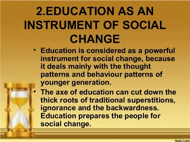 Effects of education on societal change between generations