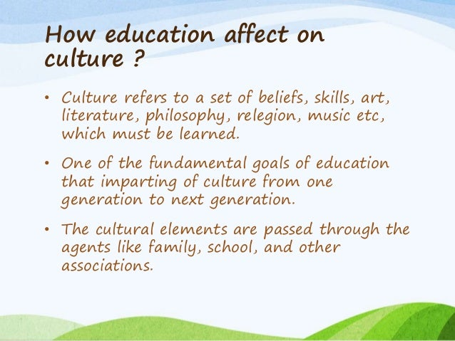 impact of education on society Education is the process of facilitating learning, or the acquisition of knowledge, skills, values, beliefs, and habits - wikipedia by this definition, education can never have negative effects it only produces negative effects when its process or acquisition is undertaken incorrectly for.