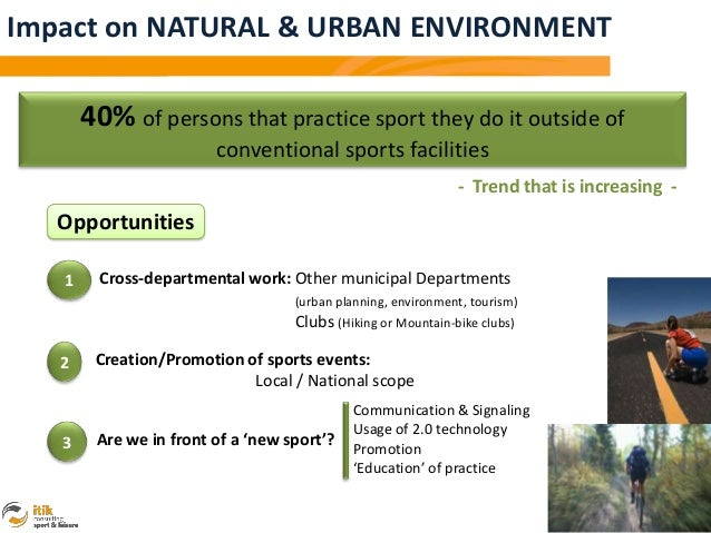 Impact on NATURAL & URBAN ENVIRONMENT       40% of persons that practice sport they do it outside of                      ...