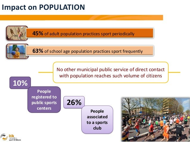Impact on POPULATION        45% of adult population practices sport periodically        63% of school age population pract...