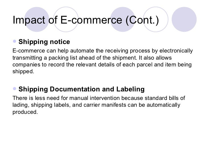 the effect of e commerence on supply Impact of e-commerce in supply chain management by y chitra rekha how is e-commerce affecting supply chains already e-procurement will have its greatest effect on change management and compliance.