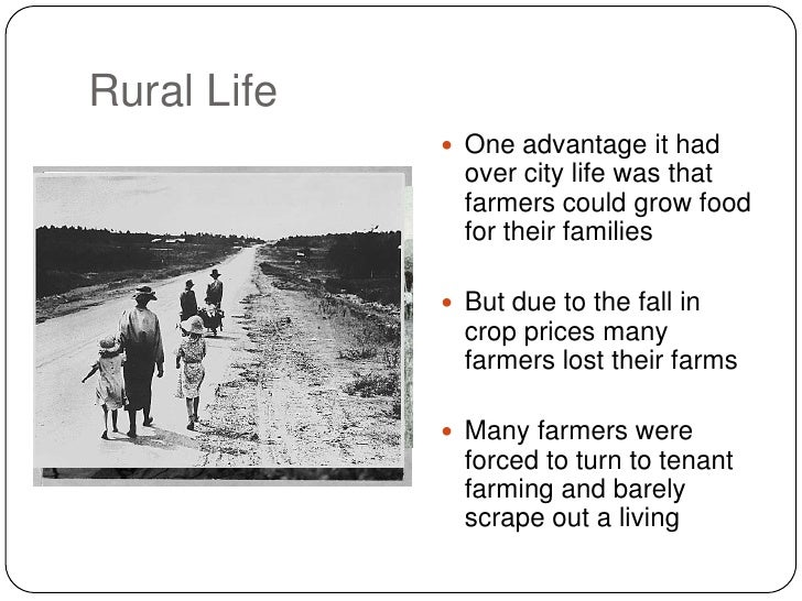 Comparison of urban areas and rural areas during the great depression