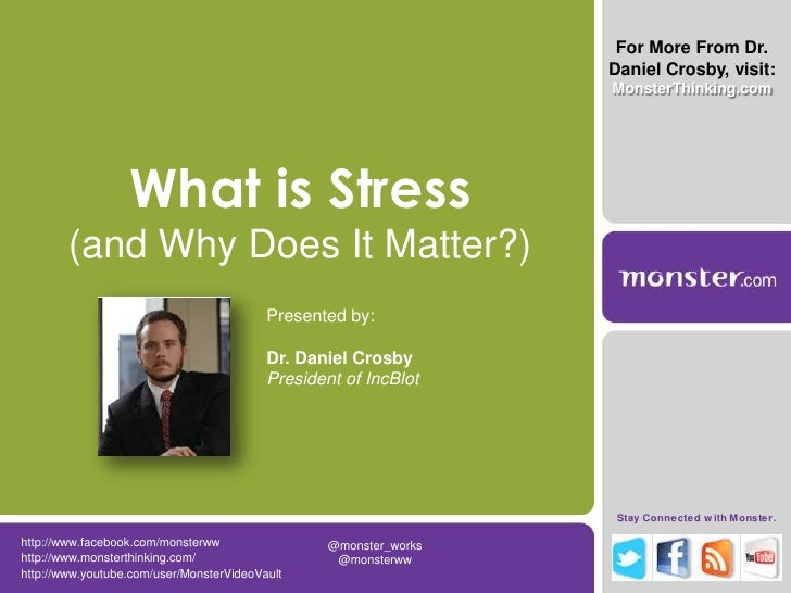 For More From Dr. Daniel Crosby, visit:<br />MonsterThinking.com<br />What is Stress (and Why Does It Matter?)<br />Presen...