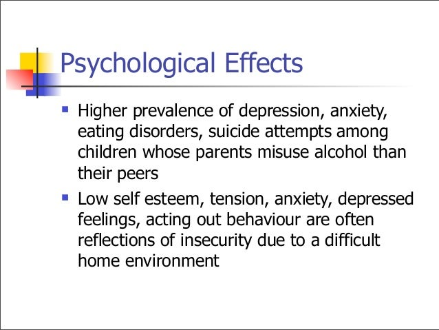 anxiety in children with alcoholic parents A number of studies assessed the psychopathology of the children of alcoholic parents, and the findings were similar to those seen in families having a parent with a mood disorder these nuclear .