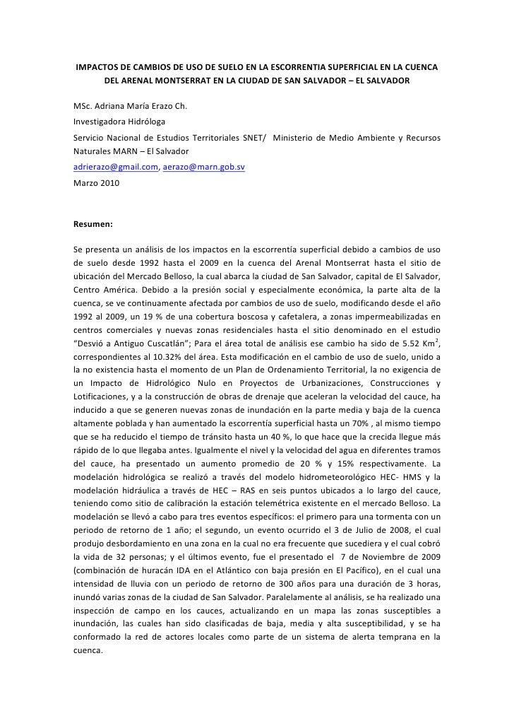 IMPACTOS DE CAMBIOS DE USO DE SUELO EN LA ESCORRENTIA SUPERFICIAL EN LA CUENCA      DEL ARENAL MONTSERRAT EN LA CIUDAD DE ...