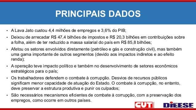 PRINCIPAIS DADOS • A Lava Jato custou 4,4 milhões de empregos e 3,6% do PIB; • Deixou de arrecadar R$ 47,4 bilhões de impo...