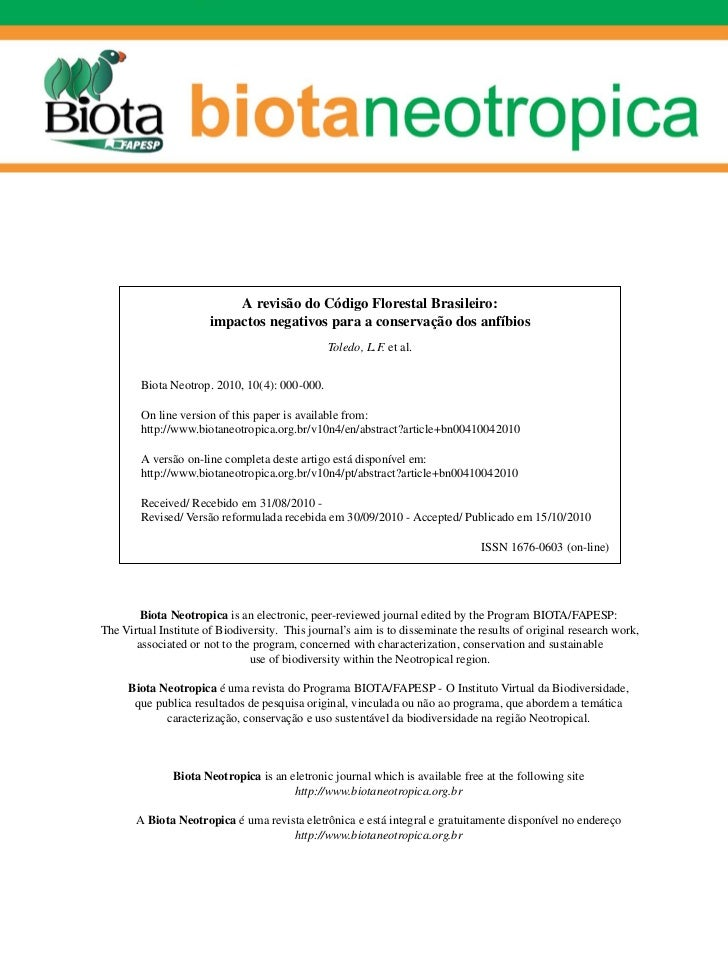 A revisão do Código Florestal Brasileiro:                       impactos negativos para a conservação dos anfíbios        ...