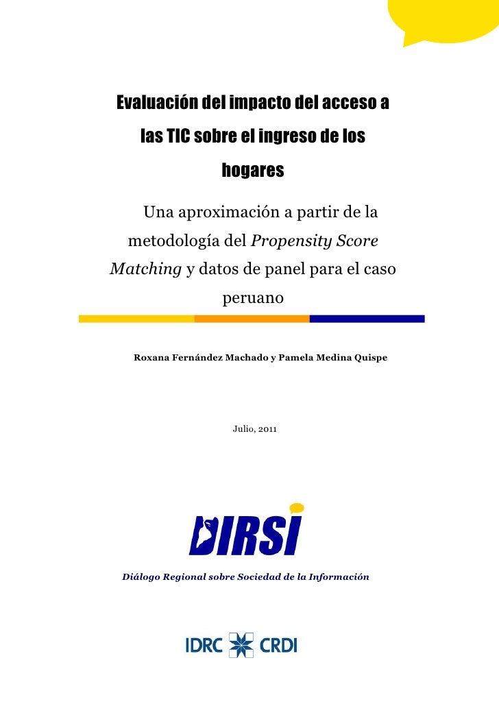 Evaluación del impacto del acceso a    las TIC sobre el ingreso de los                    hogares     Una aproximación a p...
