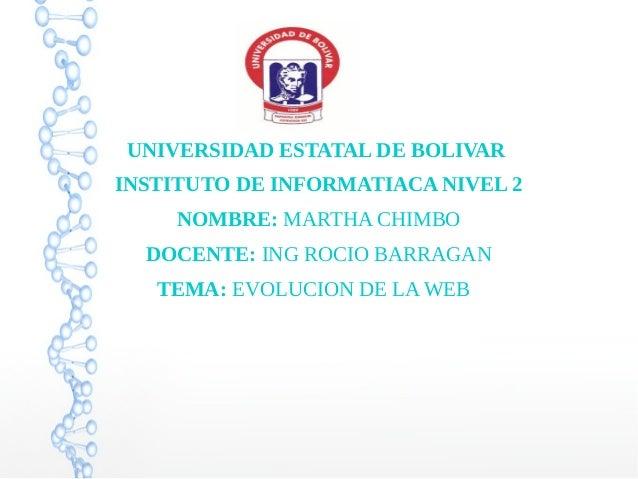 UNIVERSIDAD ESTATAL DE BOLIVAR INSTITUTO DE INFORMATIACA NIVEL 2 NOMBRE: MARTHA CHIMBO DOCENTE: ING ROCIO BARRAGAN TEMA: E...