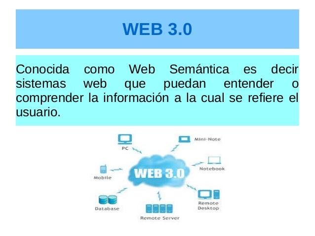 WEB 3.0 Conocida como Web Semántica es decir sistemas web que puedan entender o comprender la información a la cual se ref...