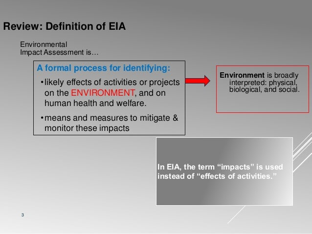 Impact prediction, evaluation and mitigation in eia