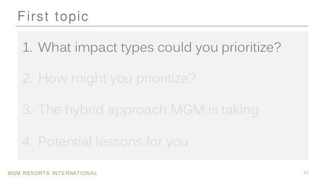 MGM RESORTS INTERNATIONAL 11 First topic 1. What impact types could you prioritize? 2. How might you prioritize? 3. The hy...