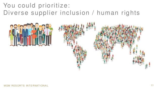 MGM RESORTS INTERNATIONAL 13 You could prioritize: Diverse supplier inclusion / human rights